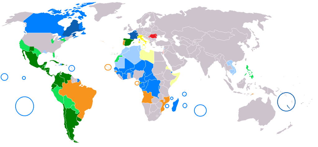 Global Distribution of Latin Based Languages